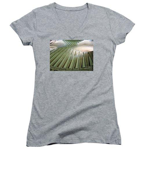 D C Metro 3 Women's V-Neck T-Shirt (Junior Cut) by Randall Weidner