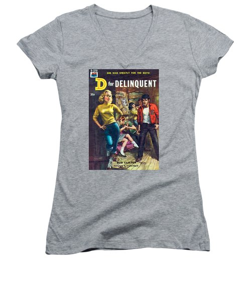 Women's V-Neck T-Shirt (Junior Cut) featuring the painting D For Delinquent by Rudy Nappi