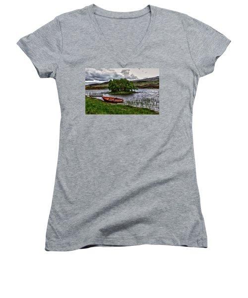 Dads Fishing Spot P D P Women's V-Neck T-Shirt (Junior Cut) by David Dehner