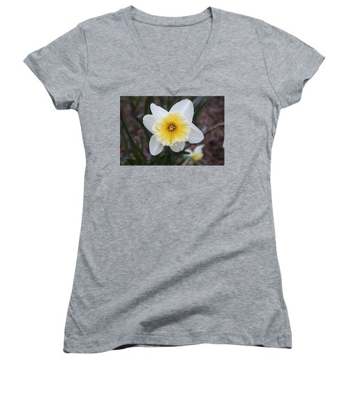 Women's V-Neck T-Shirt (Junior Cut) featuring the photograph Daffodil At Black Creek by Jeff Severson