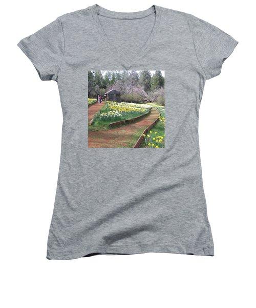 Daffodil Hill Pathway Women's V-Neck T-Shirt (Junior Cut) by Karen J Shine