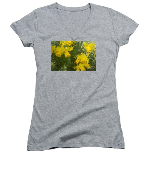 Women's V-Neck T-Shirt (Junior Cut) featuring the photograph Daffodil Impressions by Jeanette French