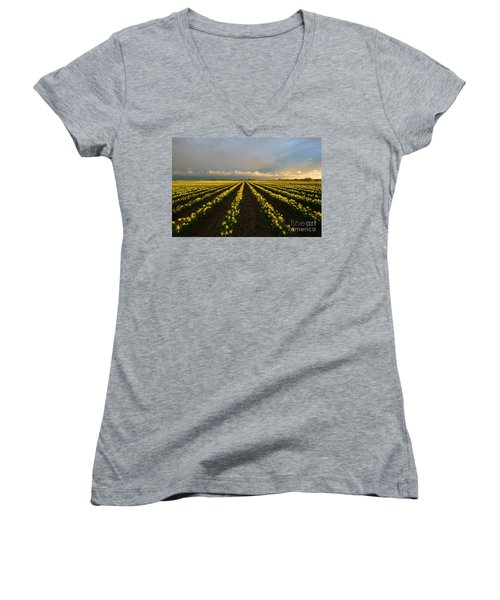 Women's V-Neck T-Shirt (Junior Cut) featuring the photograph Daffodil Storm by Mike Dawson