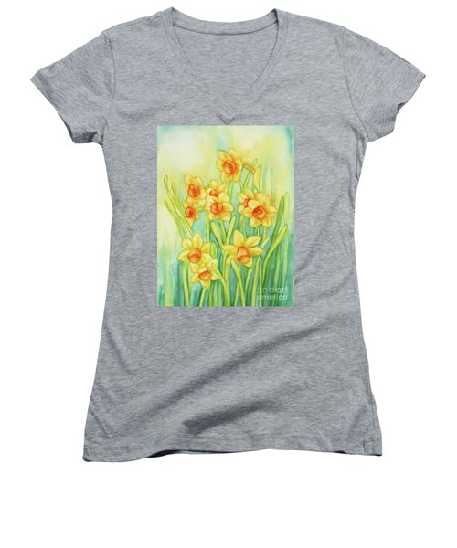 Daffodils In Yellow Women's V-Neck