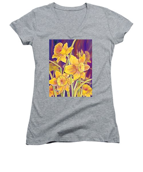 Women's V-Neck T-Shirt (Junior Cut) featuring the mixed media Daffodils by Teresa Ascone
