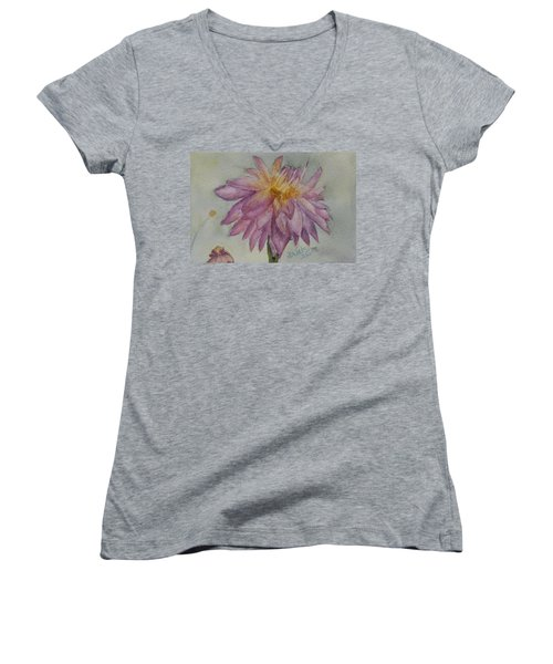 Women's V-Neck T-Shirt (Junior Cut) featuring the painting Dahlia At Eastport Me by Donna Walsh