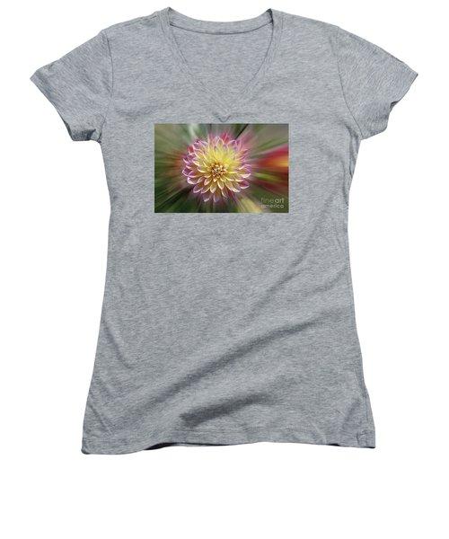 Dahlia Burst Women's V-Neck T-Shirt (Junior Cut) by Judy Whitton
