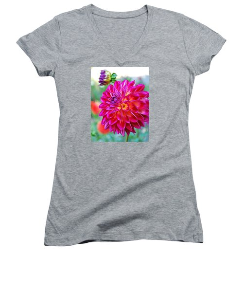Dahlia Fuchsia Surprise  Women's V-Neck T-Shirt