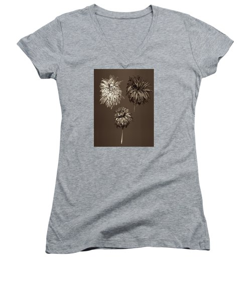 Dahlia  Grouping Women's V-Neck T-Shirt (Junior Cut) by Simone Ochrym