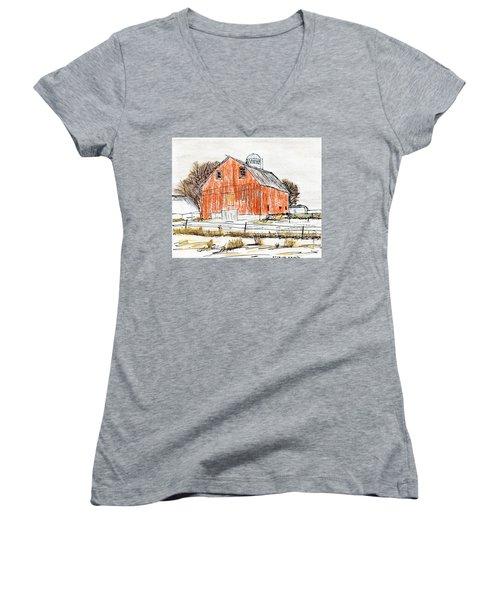 Dairy Barn Women's V-Neck T-Shirt (Junior Cut) by R Kyllo