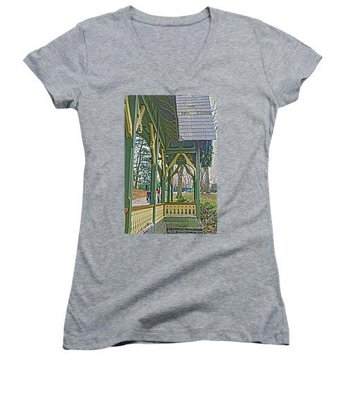Women's V-Neck T-Shirt (Junior Cut) featuring the photograph Dairy Cottage Porch by Sandy Moulder