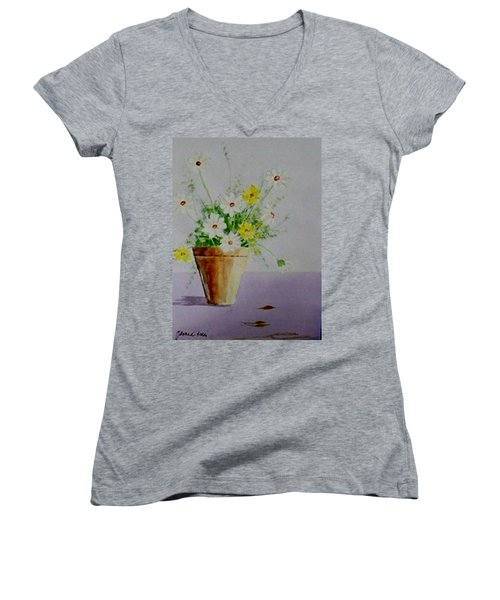 Women's V-Neck T-Shirt (Junior Cut) featuring the painting Daisies In Pot by Jamie Frier