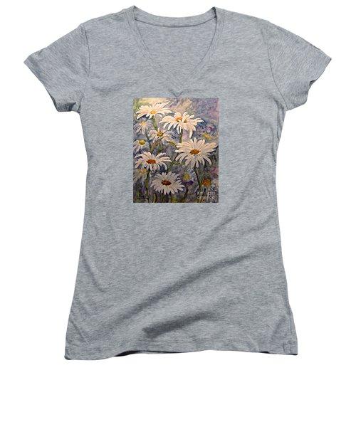 Daisies Watercolor Women's V-Neck T-Shirt (Junior Cut) by AmaS Art