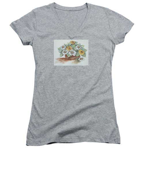 Daisy Craze Women's V-Neck T-Shirt (Junior Cut) by Sharyn Winters