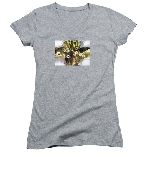 Women's V-Neck T-Shirt (Junior Cut) featuring the painting Daisies by Ed Heaton