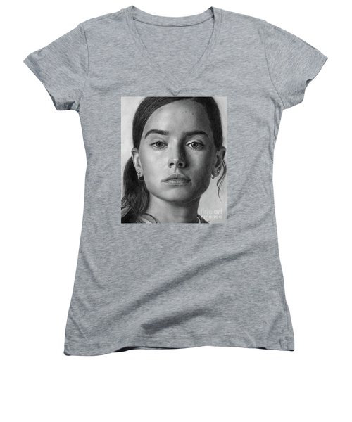 Daisy Ridley Pencil Drawing Portrait Women's V-Neck T-Shirt