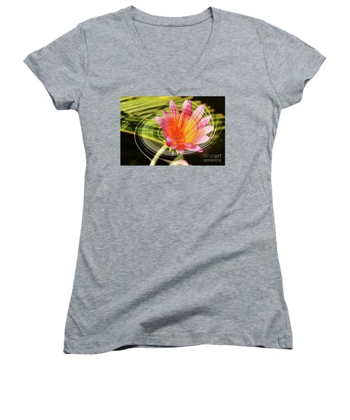 Daisy Swirl Women's V-Neck T-Shirt (Junior Cut) by Debby Pueschel