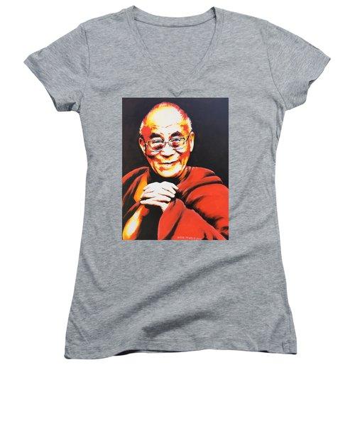 Dalai Lama Women's V-Neck T-Shirt (Junior Cut) by Victor Minca