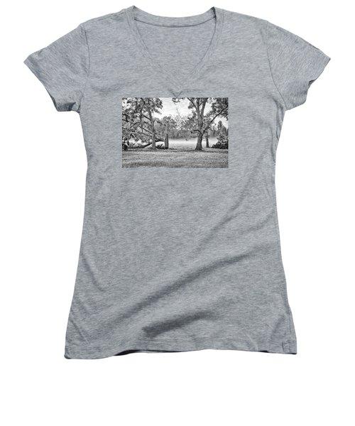 Dale - Foggy Morning Women's V-Neck T-Shirt (Junior Cut) by Scott Hansen