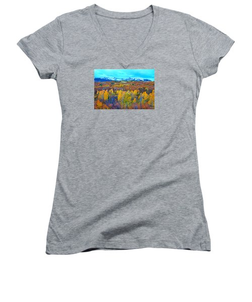 Dallas Divide Palette  Women's V-Neck T-Shirt