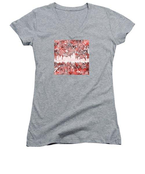 Dallas Skyline Map Red 2 Women's V-Neck T-Shirt