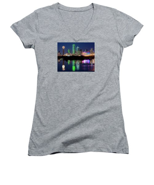 Dallas Skyline Reflection 91317 Women's V-Neck