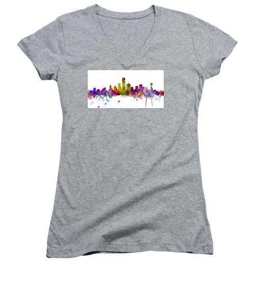 Dallas Texas Skyline Panoramic Women's V-Neck T-Shirt