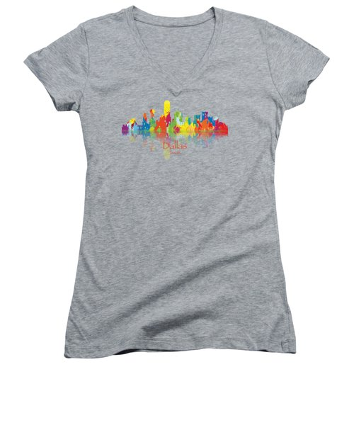 Dallas Texas Tshirts And Accessories Art Women's V-Neck T-Shirt (Junior Cut) by Loretta Luglio