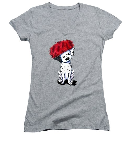 Dalmatian In Red Women's V-Neck T-Shirt