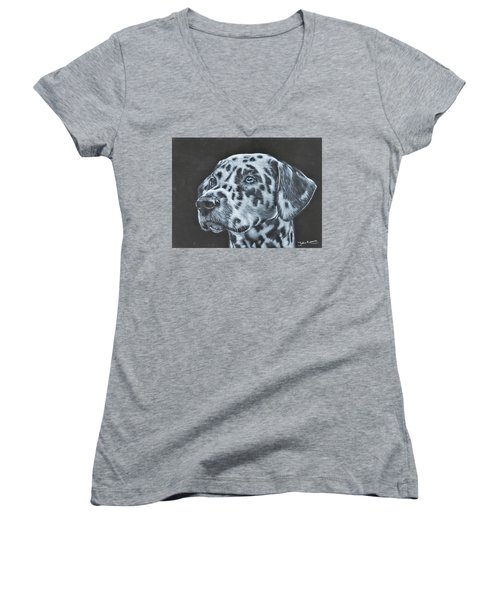 Dalmation Portrait Women's V-Neck (Athletic Fit)