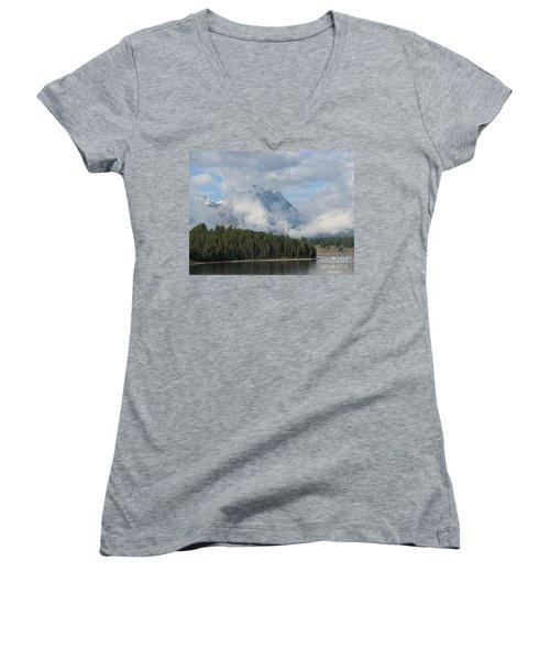Women's V-Neck T-Shirt (Junior Cut) featuring the photograph Dam Clouds by Greg Patzer