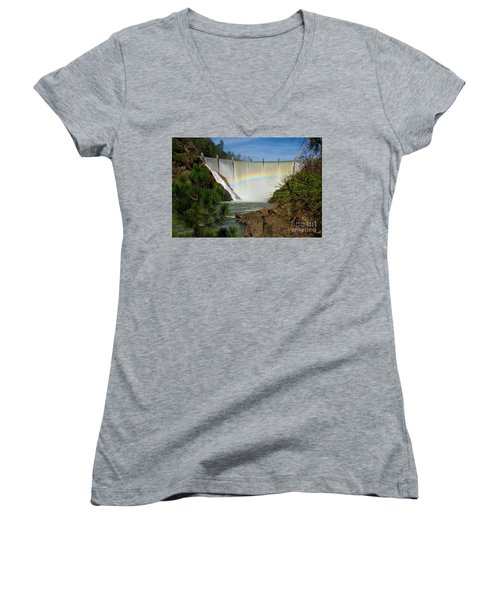 Women's V-Neck T-Shirt (Junior Cut) featuring the photograph Dam Rainbow by Patrick Witz