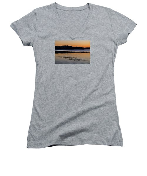 Damariscotta Twilight Women's V-Neck T-Shirt (Junior Cut) by Tom Singleton