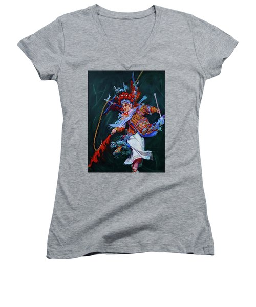 Dan Chinese Opera Women's V-Neck T-Shirt