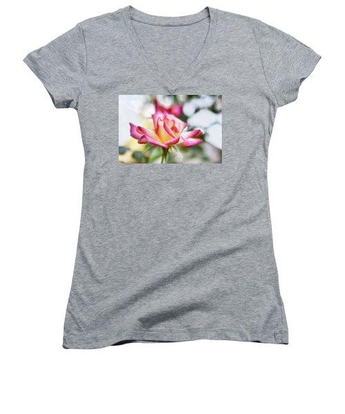Dance Ballerina, Dance Women's V-Neck T-Shirt (Junior Cut) by Joan Bertucci