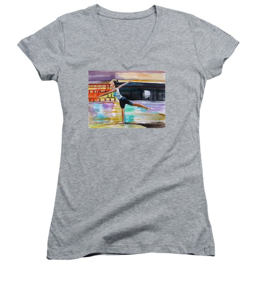 Women's V-Neck T-Shirt (Junior Cut) featuring the painting Dance Class by John Williams