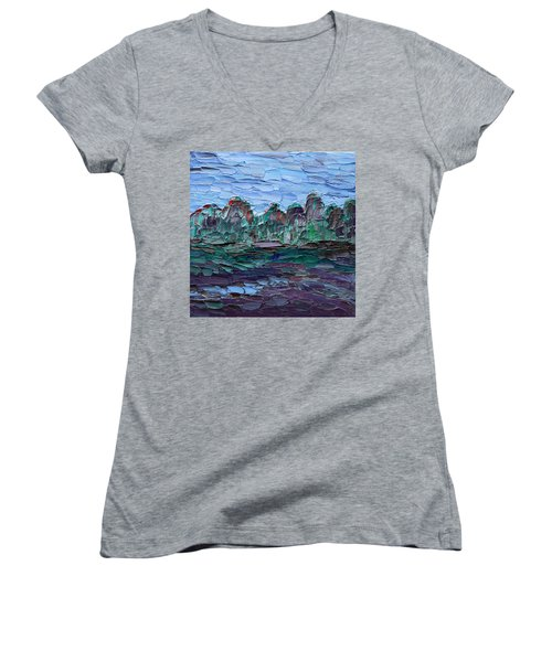 Women's V-Neck T-Shirt featuring the painting Dance In The Rain by Vadim Levin
