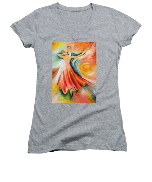 Women's V-Neck T-Shirt (Junior Cut) featuring the painting Dance Me To The End Of Time by Itzhak Richter