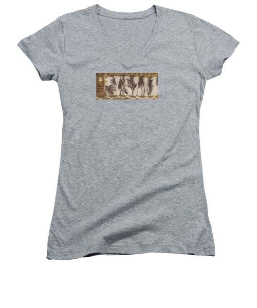 Dance Of The Eucalyptus Leaves Women's V-Neck T-Shirt (Junior Cut) by Carolyn Doe