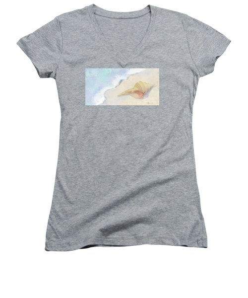 Women's V-Neck T-Shirt featuring the painting Dance Of The Sea - Australian Trumpet Shell Impressionstic by Audrey Jeanne Roberts