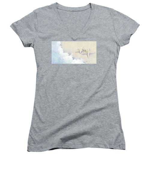 Women's V-Neck T-Shirt featuring the painting Dance Of The Sea - Knobby Starfish Impressionstic by Audrey Jeanne Roberts