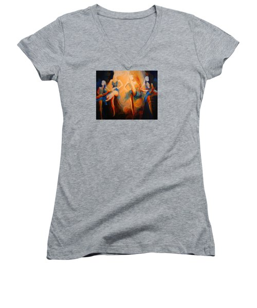 Women's V-Neck T-Shirt (Junior Cut) featuring the painting Dance Of The Sidheog by Georg Douglas