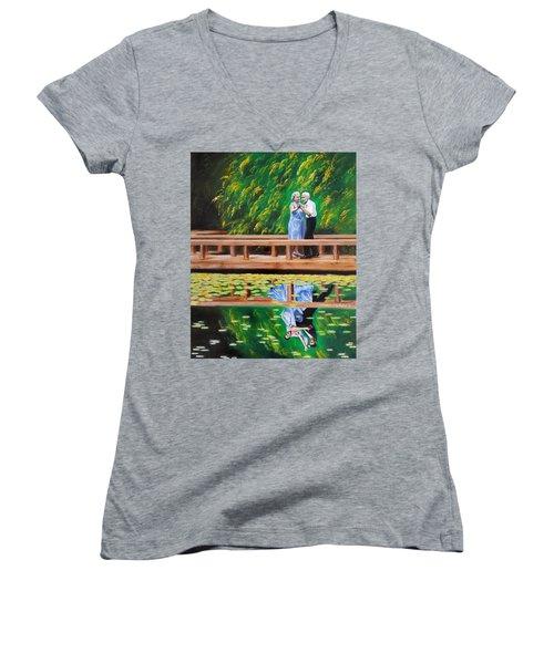 Dance Reflection Women's V-Neck T-Shirt (Junior Cut) by Jason Marsh
