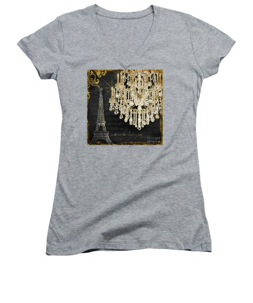 Women's V-Neck T-Shirt featuring the mixed media Dance The Night Away 1 by Audrey Jeanne Roberts