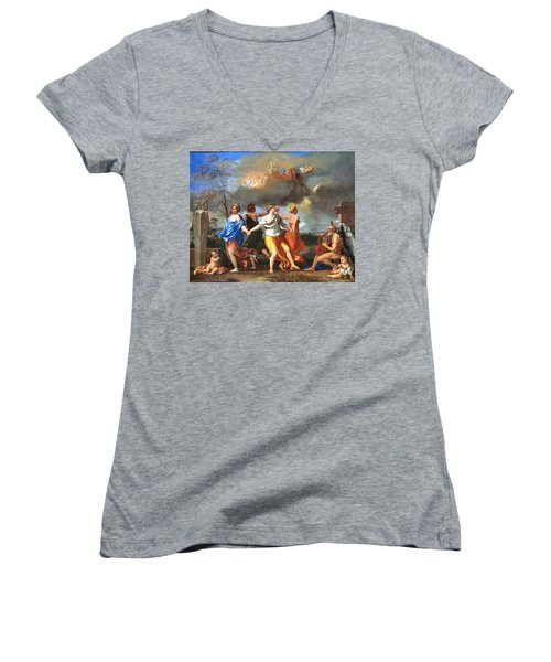 Dance To The Music Of Time  Women's V-Neck T-Shirt (Junior Cut) by Nicolas Poussin