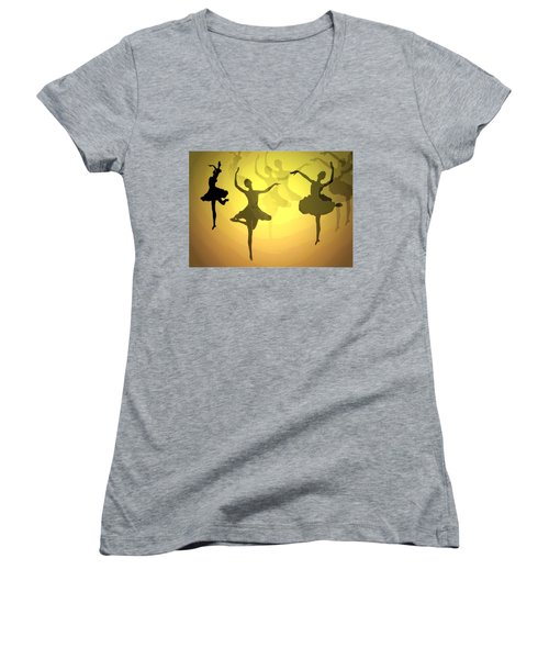 Women's V-Neck T-Shirt (Junior Cut) featuring the photograph Dance With Us Into The Light by Joyce Dickens