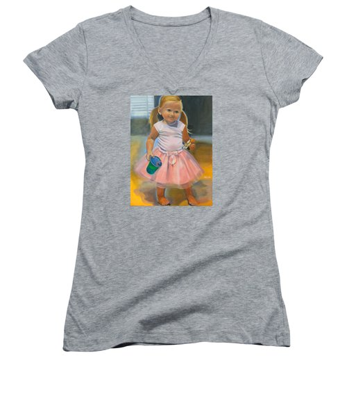 Dancer With Sippy Cup Women's V-Neck T-Shirt (Junior Cut) by Kaytee Esser