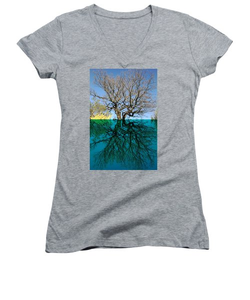 Dancers Tree Reflection  Women's V-Neck