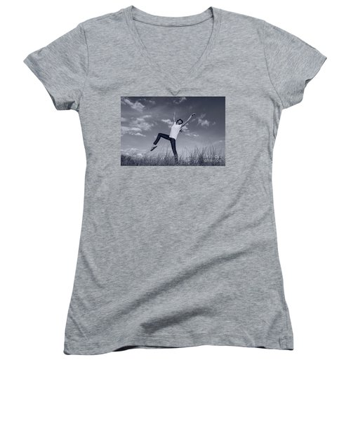 Dancing At The Beach Women's V-Neck T-Shirt (Junior Cut) by Amyn Nasser