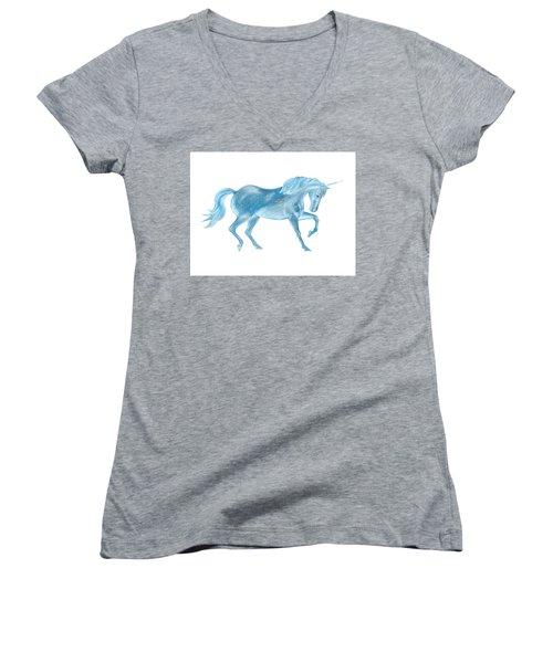 Women's V-Neck T-Shirt featuring the mixed media Dancing Blue Unicorn by Elizabeth Lock